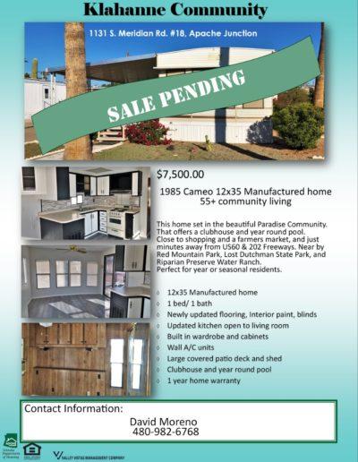 KL 18 sale pending